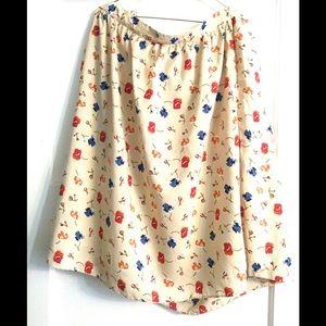 Mikarose Midi Tan A-Lined Floral Skirt